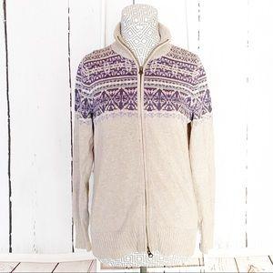 Eddie Bauer zip front Faire isle Cardigan Sweater